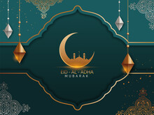 Islamic Festival Of Sacrifice Concept With Arabic Calligraphic Text Eid-Ul-Adha Mubarak And Golden Crescent Moon, Mosque And Silver And Golden Ornaments.