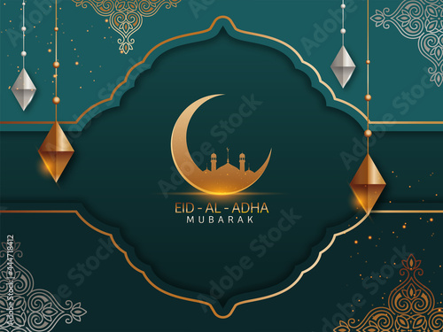 Fototapeta Islamic festival of sacrifice concept with Arabic calligraphic text Eid-Ul-Adha Mubarak and golden crescent moon, mosque and silver and golden ornaments