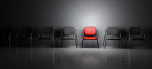 Red Chair In Spotlight. Job Interview, Recruitment Concepts.