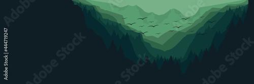Obraz na plátně creative mountain landscape flat design vector illustration for background, wall