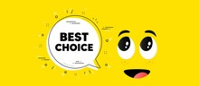 Best Choice Text. Cartoon Face Chat Bubble Background. Special Offer Sale Sign. Advertising Discounts Symbol. Best Choice Chat Message. Character Smile Face Background. Vector