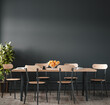 Leinwandbild Motiv Home interior, modern dark dining room interior, black empty wall mock up, 3d render