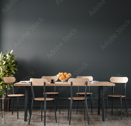 Home interior, modern dark dining room interior, black empty wall mock up, 3d render
