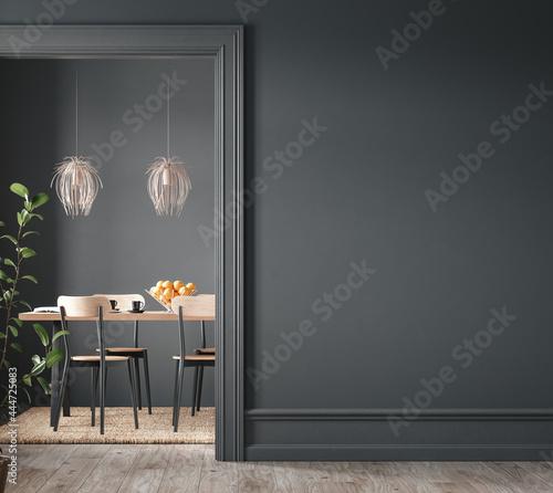 Fotografiet Home interior, modern dark dining room interior, black empty wall mock up, 3d re