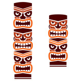 Fototapeta Kuchnia - Tiki pole totem set vector tribal design in brown - traditional statue decor with faces set from Polynesia and Hawaii