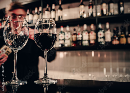 Fotografie, Obraz two red wine glass in cafe or bar