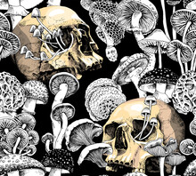 Seamless Wallpaper Pattern. Monochrome Magic Psychedelic Mushrooms And Skulls. Humor Textile Composition, Hand Drawn Style Print. Vector Illustration.