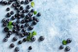 Fototapeta Kawa jest smaczna - Fresh blueberry background. Texture blueberry berries close up