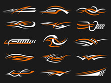 Car Stripes. Vinyl Stylized Graphics Templates Symbols Of Flame Geometrical Shapes Racing Motorcycle Club Designs Recent Vector Set