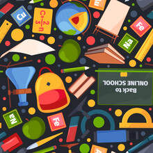Back To School Pattern. Education Symbols Books Digital Devices Computers Apple Notebooks Pencils For Distance Education Garish Vector Seamless Background