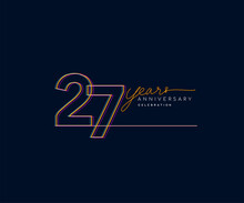 27th Years Anniversary Logotype With Colorful Multi Line Number Isolated On Dark Background.