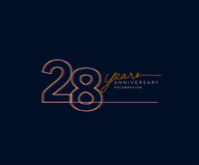 28th Years Anniversary Logotype With Colorful Multi Line Number Isolated On Dark Background.