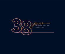 38th Years Anniversary Logotype With Colorful Multi Line Number Isolated On Dark Background.