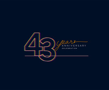 43rd Years Anniversary Logotype With Colorful Multi Line Number Isolated On Dark Background.