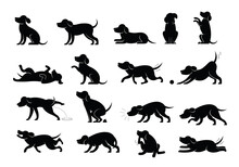 Dog Behavior Silhouette Set, Various Action And Posture