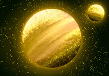 Yellow Planet And Satellite
