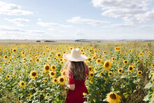 Beautiful Young Woman In Red Dress And A Straw Hat Is Standing Against A Yellow Field Of Sunflowers. Summer Time, Cottagecore Concept. Back View