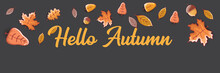 Vector Hello Autumn Horizontal Banner Or Label With Text And Falling Autumn Leaves On Grey Horizontal Background. Cartoon Hello Autumn Poster, Flyer Or Banner