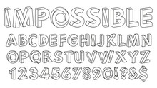 Impossible Shapes Font. Paradox Alphabet Letters And Numbers, Geometric Abc Figures Vector Illustration Set. Optical Illusion Impossible Alphabet
