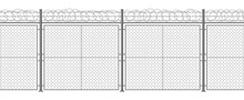Metallic Barbed Wire Fence. Secured Razor Wire Barrier, Steel Pillars And Razor Wire Border Vector Background Illustration. Territory Protection Barbed Wire Fencing