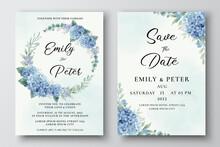 Wedding Invitation Template With Blue Hydrangea