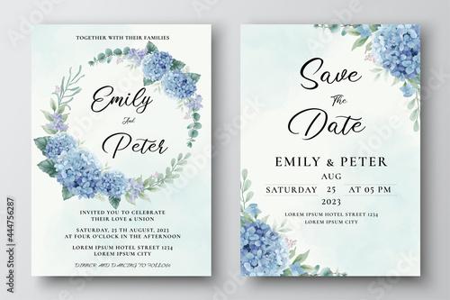 Photo Wedding Invitation Template with Blue Hydrangea