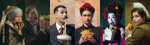 Medieval men and women as a royalty persons in vintage clothing on dark background. Concept of comparison of eras, modernity and renaissance, baroque style.