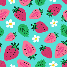 Seamless Pattern With Strawberries, Flowers And Leaves On A Blue Background. Summer Vector Illustration In Hand Drawn Style. Perfect For Fabric, Wallpaper Or Packaging