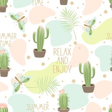 Seamless Pattern With Cute Cactus On A Summer Background. Vector Illustration.