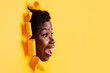 Leinwandbild Motiv Profile photo of crazy surprised lady open mouth scream look empty space through bright yellow color background