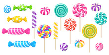 Candies, Lollipop, Sugar Caramel In Wrapper, Gums And Twisted Marshmallow On Stick. Vector Set Of Sweets, Spiral Lollypops, Striped Bonbons And Bubblegums Isolated On White Background