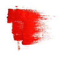 Red Oil Paint Brush Strokes Isolated On White Background Hand Drawn Acrylic Paint Brush Red Brush Stroke Isolated On Grunge Background