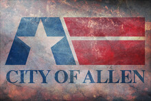 Top View Of Retro Flag Of Allen, Texas With Grunge Texture. Flag Background. Patriotic Concept About Allen, Texas