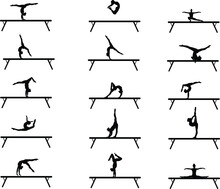 Gymnast Performing An Exercise On A Balance Beam. Sports Gymnastics. Sports Gymnast. Gymnastic Balance Beam. Exercises On A Balance Beam. Elements In Gymnastics. Jumping. Handstand. Acrobatics.Twine