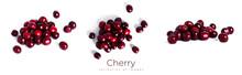 Cherry Isolated On A White Background. Sweet Cherry Berries On A White Background. Red Berries Are Isolated.
