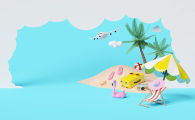 Fototapeta na wymiar summer travel with yellow suitcase, beach chair,sunglasses,camera,umbrella,Inflatable flamingo,coconut tree,sandals,plane,cloud isolated on blue background ,concept 3d illustration or 3d render