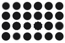 Sticker Promo Sales Or Discount Set. Label Icon Sticker. Badge Vector Black Collection.