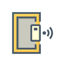 Smart Lock And Door Vector Icon. Security System Technology Consist Of Wireless, Electronic For Lock, Unlock Or Control Access Entrance For Home Or House And Office By Mobile Or Smartphone. 48x48 Px.