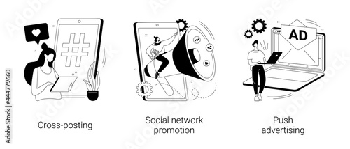 Tela Media promotion abstract concept vector illustrations.