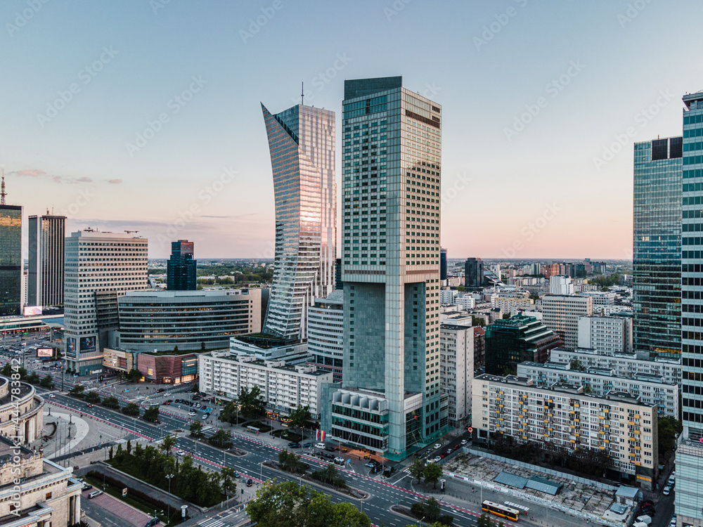 Obraz Warszawa - Centrum miasta z lotu ptaka fototapeta, plakat