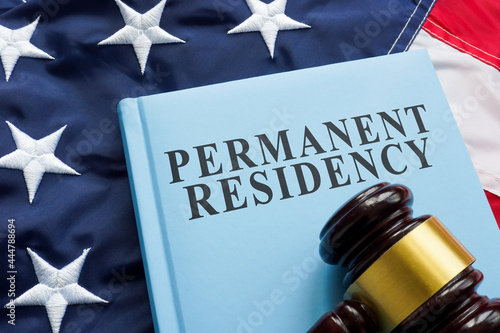 Canvastavla Permanent residency law book on the flag.