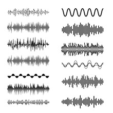 Sound Waves Set. Playing Song Visualization, Radiofrequency Lines, And Sounds Amplitudes. Can Be Used For Radio, Music Clubs Projects, Audio Logo Or Musical Pulse Background