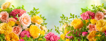 Beautiful Bouquet Of Roses. Colorful Flowers Festive Background.Floral Concept.