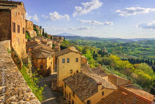Canvastavla Montepulciano village panoramic view. Siena, Tuscany Italy