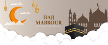 Eid Al-Adha Mubarak Landscape Banner With Silhouettes Of Kaaba And Mosque Floating In The Sky Above The Clouds. Hajj Mabrour Banner With Crescent Moon Paper Cut Style Illustration