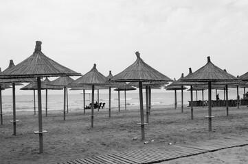 Czarno białe zdjęcie parasoli plażowych