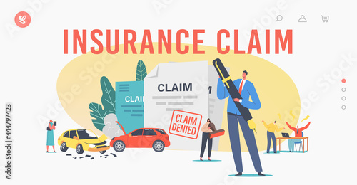 Characters Claim Insurance Landing Page Template. Male or Female Characters Dispute with Agents for Denied Policy Paper
