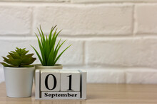 September 1. Wooden Calendar On A White Brick Background With An Empty Space. The Concept Of Back To School