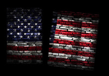 Brick Pattern United States Flag Divided In Two Representing Political Division And Disagreement