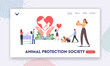 Animal Protection Society Landing Page Template. Characters Care of Pets, Adopt Cats, Dogs or Rabbits, Visit Vet Clinic